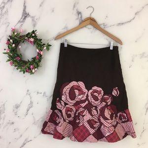 Fei Anthropologie Patchwork Roses Skirt